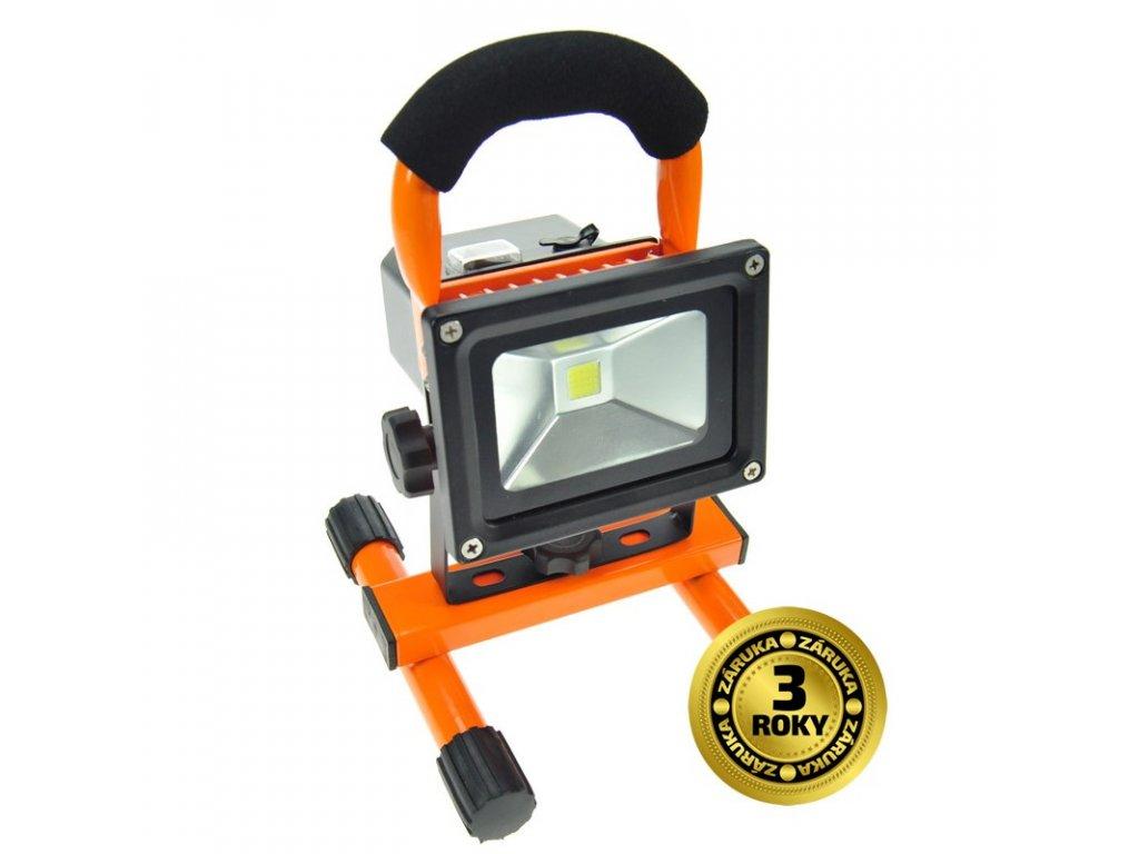 LED reflektor 10W, přenosný, nabíjecí, 700lm, oranžovo-černý - Solight (WM-10W-DE)