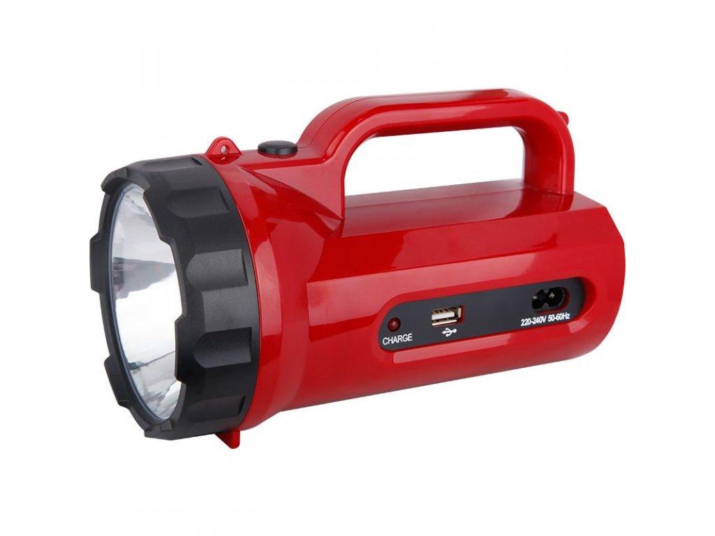 LED svítilna nabíjecí s power bankem, 5W, 235lm, červená - Solight (WN23)