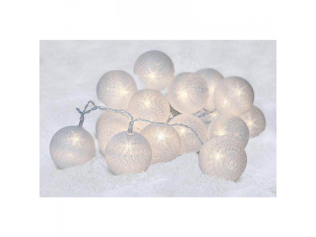 Vánoční LED řetěz - bavlněné koule - 20xLED, 3+3 metry, IP20, 230V, studená bílá - Solight (1V48)