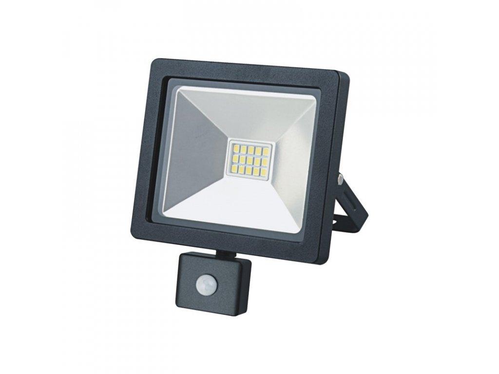 LED venkovní reflektor SLIM, 10W, 700lm, 3000K, se senzorem, černý - Solight (WM-10WS-G)