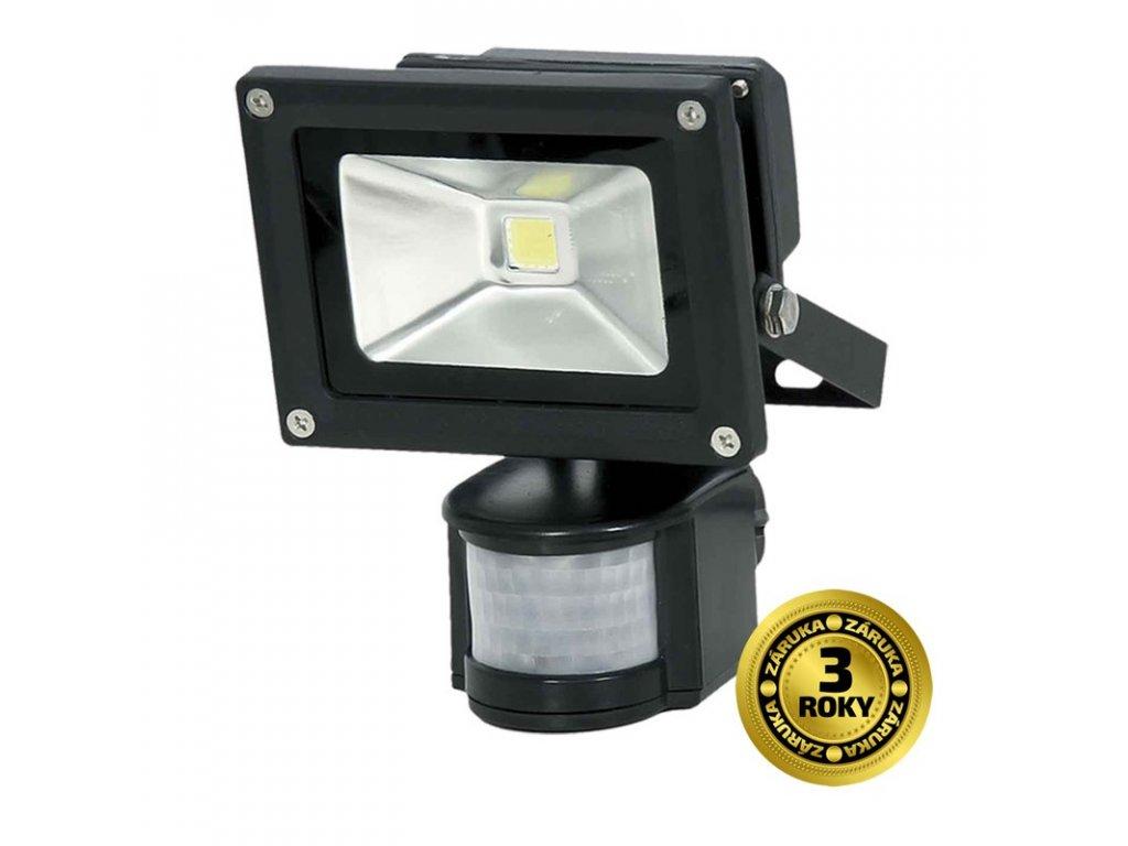 LED venkovní reflektor, 10W, 800lm, AC 230V, černá, se senzorem - Solight (WM-10WS-E)