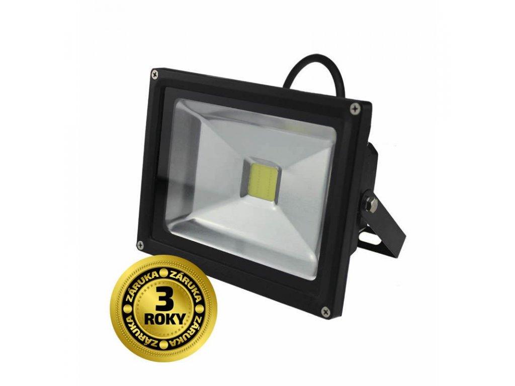 LED venkovní reflektor, 20W, 1600lm, AC 230V, černá - Solight (WM-20W-E)
