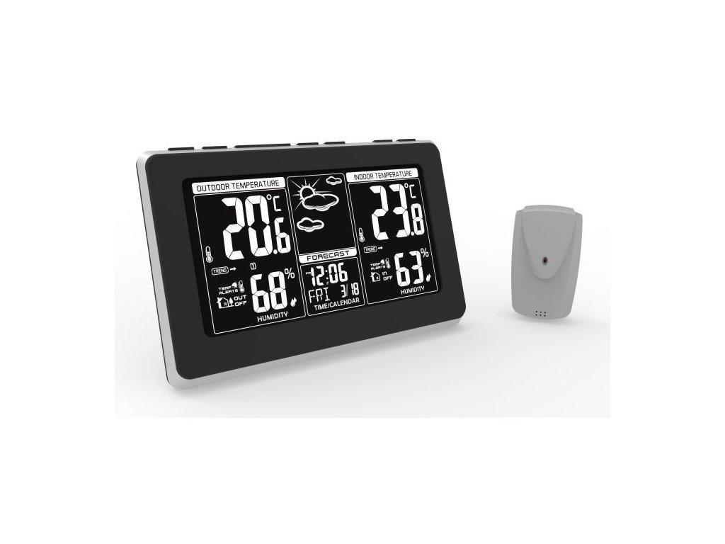 Meteostanice, extra velký LCD displej, teplota, vlhkost, RCC, černá, stříbrná, teplotní alarm - Solight (TE82)