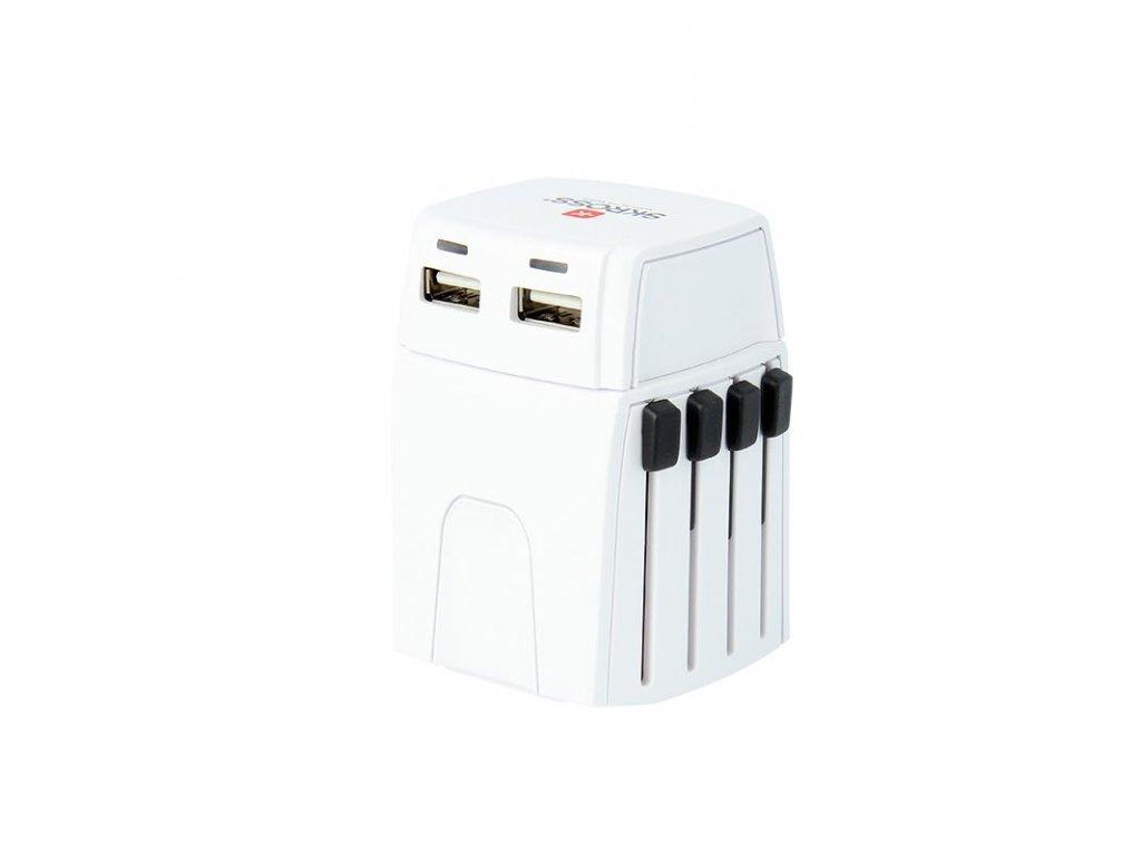 SKROSS MUV Micro USB cestovní adaptér, 2.5A max., vč. USB nabíjení 2x výstup s LED indikací - 2400mA, univerzální pro 150 zemí