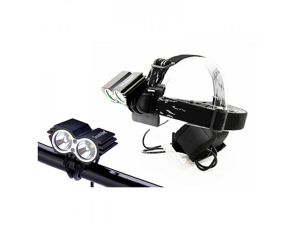 Nabíjecí LED cyklo a čelová svítilna, 1100lm, 2x Cree XML-T6 LED, Li-Ion - Solight (WN19)