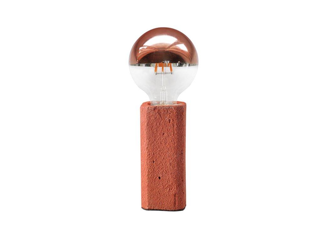 Stolní lampička | Ø6,2cm, jíl + cihlově červená | Aca Lighting (V372011TRD)