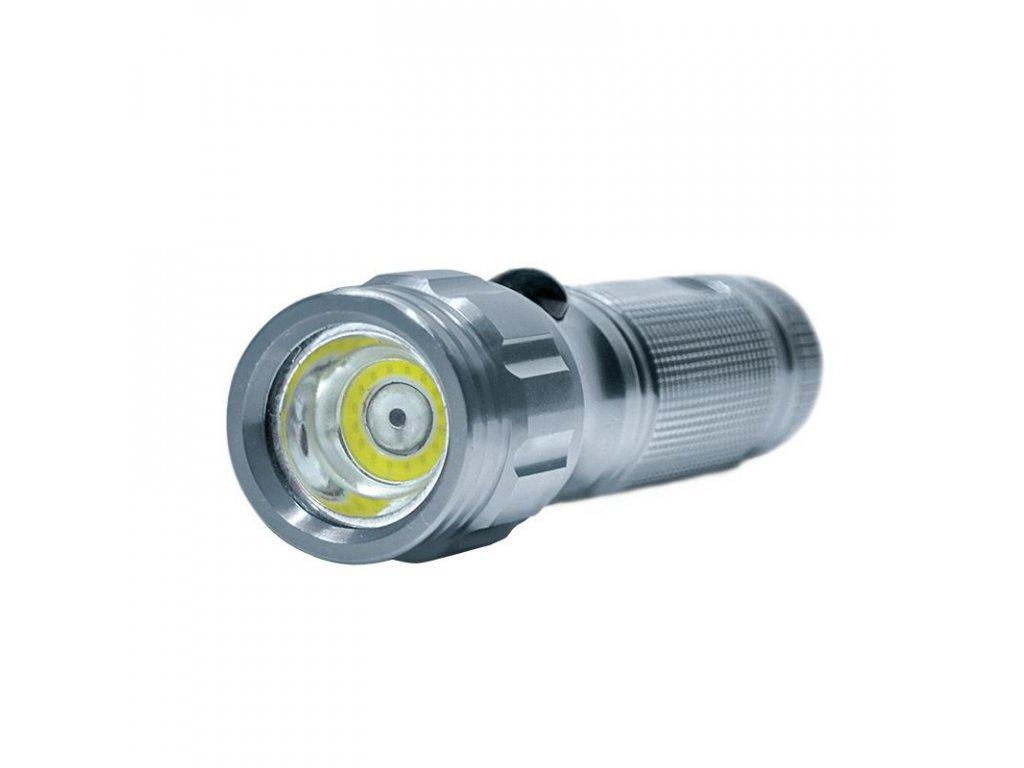 Svítilna, 3W COB + infra laser, stříbrná, 3x AAA, se šňůrkou - Solight (WL111)