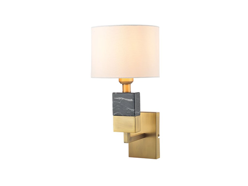 Nástěnné svítidlo MARBLE   Ø20cm, mosaz + bílá + černá   Aca Lighting (ML306411WB)
