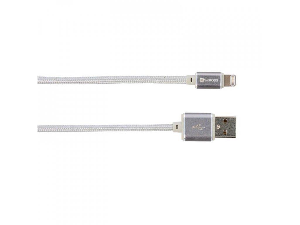 SKROSS USB kabel Steel Line Charge'n Sync, délka 1m, Apple Lightning, opletený kabel