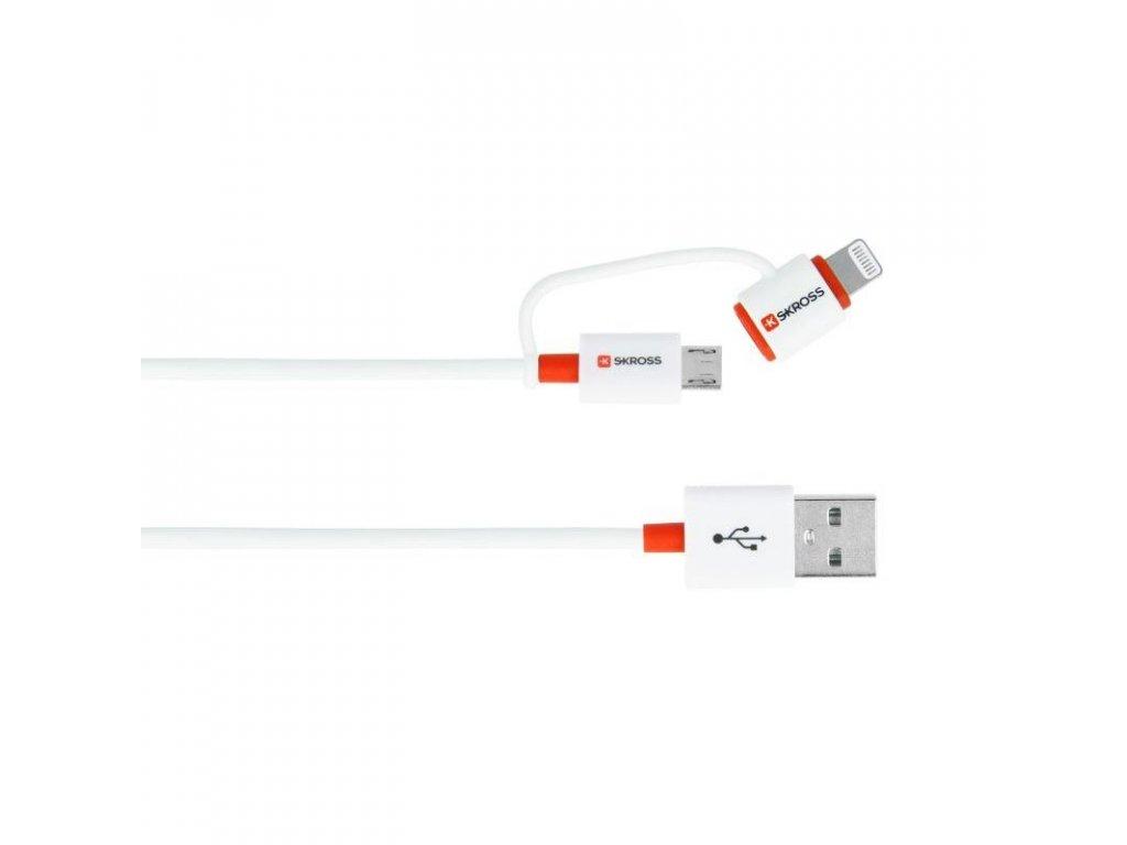 SKROSS USB kabel 2in1 Charge'n Sync DC20A, délka 1m, micro USB a Apple Lightning combo konektor, Apple MFI licence, pro nabíjení a přenos dat