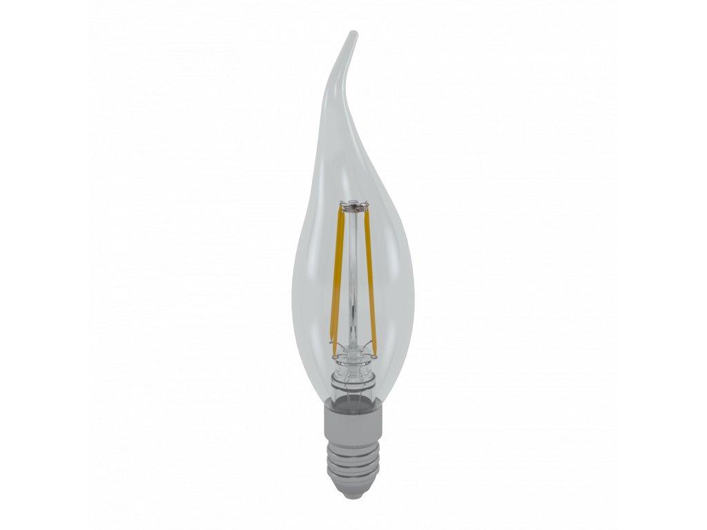 LED žárovka svíčka čirá plamínek 4W E14 6400K CW SKYLIGHTING (FCFL-1404F)