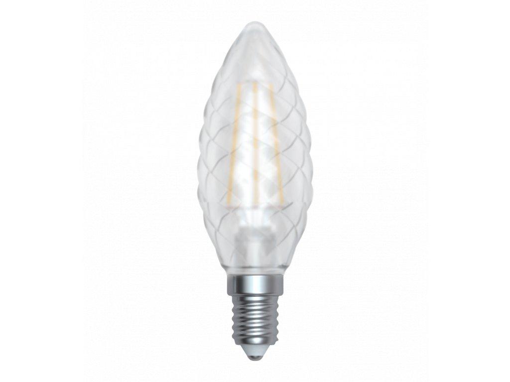LED žárovka svíčka čirá kroucená 4W E14 6400K CW SKYLIGHTING (TCFL-1404F)