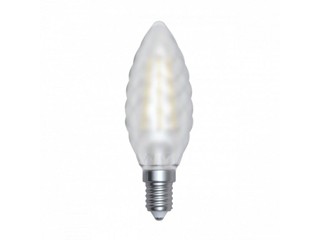 LED žárovka svíčka matná kroucená 4W E14 6400K CW SKYLIGHTING (TCFL-1404SF)