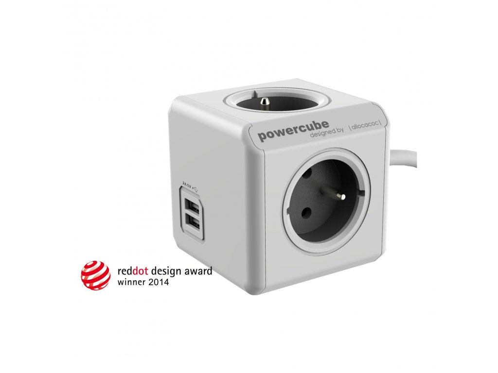 PowerCube Extended USB - 4 x zásuvka + 2 x USB + 3,0 přívodní kabel - šedá