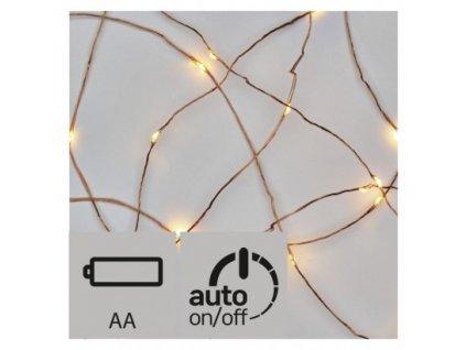 Vánoční LED řetěz - nano - 10xLED, 0,9+0,3 metru, IP20, teplá bílá, 2xAA, časovač - Emos (ZY2195)