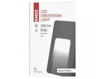 LED orientační přisazené svítidlo - 3W, 100lm, NW, IP65, obdelníkové - Emos (ZC0115)