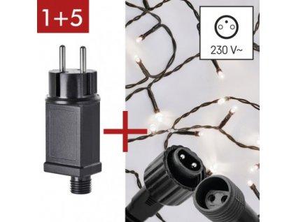 Startovní sada pro spojovací řetězy Klasik - 10m, studená bílá + adaptér - Emos (ZY2278)