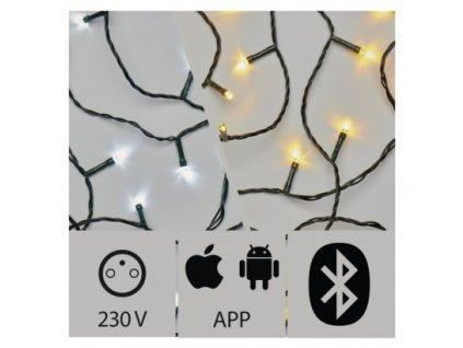 Aplikací ovládaný LED vánoční řetěz - 200xLED, 20+5 metrů, IP44, CCT - teplá + studená bílá, multifunkce, stmívaní  - Emos (ZY2189)