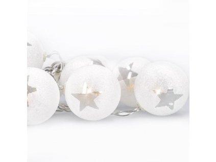 LED řetěz vánoční koule - 10xLED, 1m, 2xAA, časovač, IP20 - Solight (1V226)