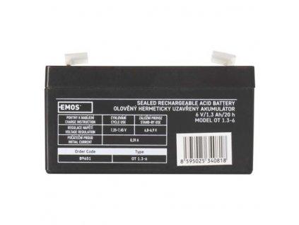 Bezúdržbový olověný akumulátor 6V 1,3Ah - Emos (B9651)