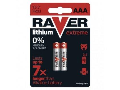Lithiová baterie RAVER FR03 (AAA), blistr
