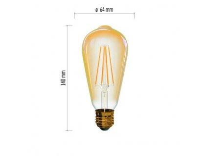 LED žárovka Vintage - Edison ST64 - 4W, 380lm, E27, extra teplá - Emos Lighting (Z74302)