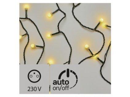 Vánoční LED řetěz - kuličky - 80xLED, 8+5 metrů, IP44, teplá bílá, časovač - Emos (ZY0902T)