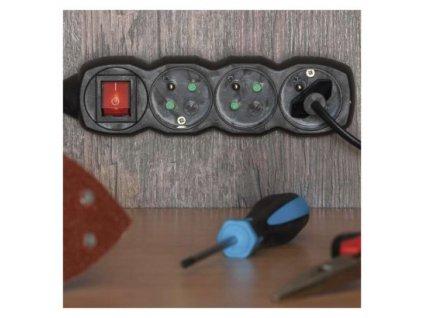 Prodlužovací kabel s vypínačem 4 zásuvky 5m, černý