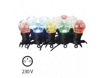 LED světelný řetěz - párty žárovky barevné - 10xLED, 5+5 metrů, IP44, multicolor, časovač - Emos (ZY1938)