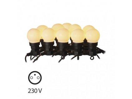 LED světelný řetěz - párty žárovky mléčné - 10xLED, 5+5 metrů, IP44, teplá bílá, časovač - Emos (ZY1939)