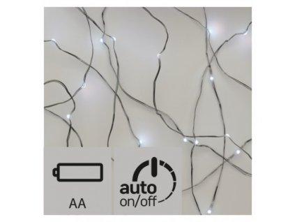 Vánoční LED řetěz - nano - 20xLED, 1,9+0,5 metru, IP20, studená bílá, 2xAA, časovač - Emos (ZY1950)