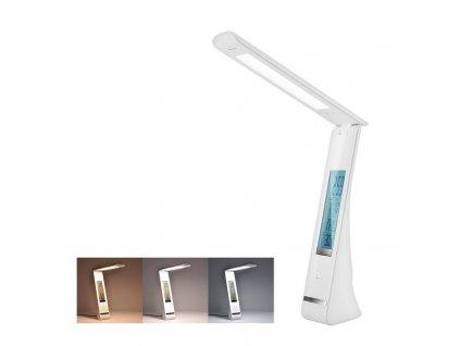 Nabíjecí LED stolní lampička - 5W, display, změna chromatičnosti, USB, bílá - Solight (WO58-W)