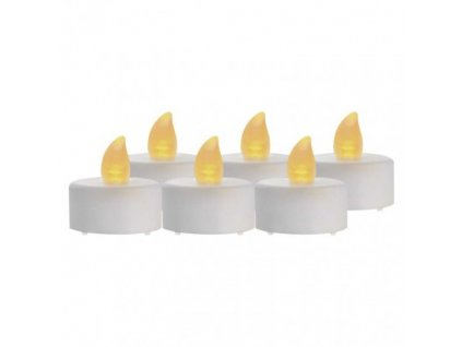 LED dekorace – 6x čajová svíčka bílá, 6x CR2032, vnitřní, vintage