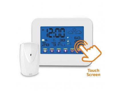 Meteostanice, velký dotykový barevný LCD, vnitřní / venkovní teplota, vlhkost, RCC, bílá - Solight (TE84)