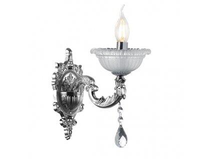 Nástěnné svítidlo | 26cm, 1 rameno, lesklé stříbro + křišťál | Aca Lighting (EG166491WCH)