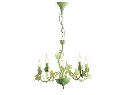 47471 1 zavesne svitidlo 58cm 5 ramen matna zelena aca lighting eg170605pg