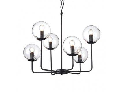 Závěsné svítidlo   Ø65cm, matná černá + čirá   Aca Lighting (OD905806PCL)