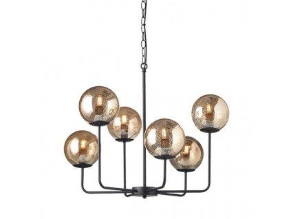 Závěsné svítidlo   Ø65cm, matná černá + jantarové skvrny   Aca Lighting (OD905806PAM)