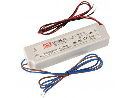 Napájecí zdroj pro LED - 60W/12V/5A/IP67 - Mean Well (LPV-60-12)