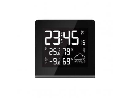 Meteostanice, velký LCD s volitelnou barvou podsvícení, vnitřní/venkovní teplota, vlhkost, RCC, černá - Solight (TE86)