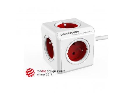 PowerCube Extended - 5 x zásuvka + 1,5 přívodní kabel - červená