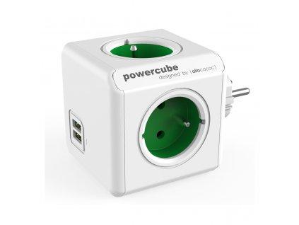 730 4 powercube original usb 4 x zasuvka 2 x usb zelena