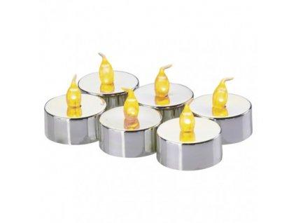 LED dekorace - stříbrná čajová svíčka (6 ks) - vintage, 1xCR2032 - Emos (ZY2150)