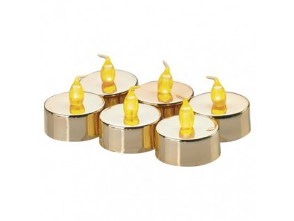 LED dekorace - zlatá čajová svíčka (6 ks) - vintage, 1xCR2032 - Emos (ZY2151)