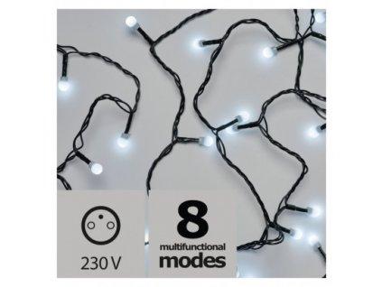 Vánoční LED řetěz - kuličky - 200xLED, 20+5 metrů, IP44, studená bílá, programy - Emos (ZY2028)