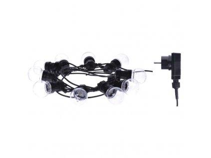 LED světelný řetěz - párty žárovky čiré - 10xLED, 5+5 metrů, IP44, teplá bílá, časovač - Emos (ZY2053)