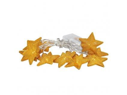 Vánoční LED řetěz - zlaté hvězdy - 10xLED, 1 metr, IP20, 2xAA, teplá bílá - Solight (1V212)