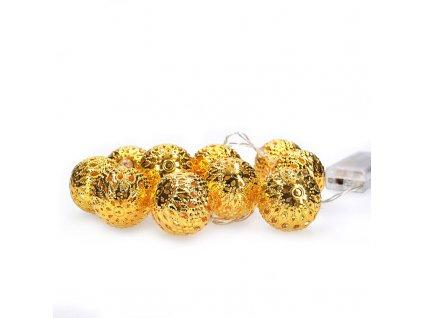 Vánoční LED řetěz - zlaté koule - 10xLED , 1 metr, IP20, 2xAA, teplá bílá - Solight (1V207-G)