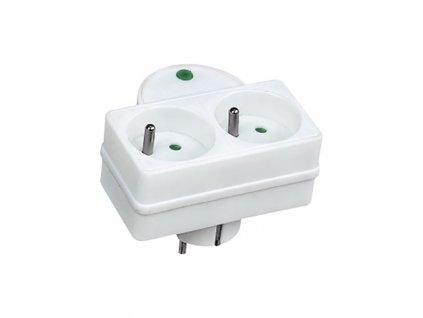 Přepěťová ochrana do zásuvky - 2 zásuvky, 576J, kontrolka - Solight (PO27)
