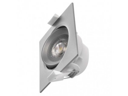 LED bodové svítidlo stříbrné - 7W, 500lm, WW - teplá bílá, čtverec - Emos (ZD3670)